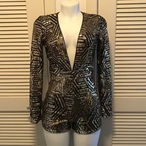 Dresses & Skirts - Black and Gold Fully Sequined Long Sleeved Romper